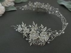 Inspired by nature. Handmade bridal silver tone head piece Made of Toho glass beads Swarovski crystals Czech glass beads wired with silver jewelry wire. #weddingheadpiece #weddingaccessories #wedding #bridalheadpiece #bridaltiara #bridalaccessories #weddingtiara #bridalhaircomb #jewellery #jewelry #weddingjewelry #Swarovski #swarovskiheadpiece #swarovskibridal #tiara #bridalhairvine #bridal #bridalhair #toho #beading #latviandesign #latviandesigner #swarovskicrystals #hairhalo