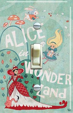 Alice in Wonderland Single Switch Plate  ***FREE SHIPPING*** by VintageSwitchPlates on Etsy