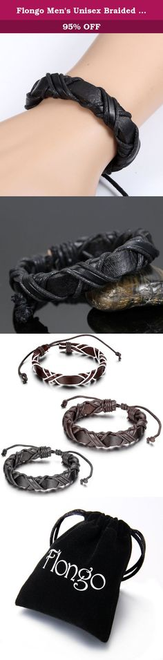 "Flongo Men's Unisex Braided Handmade Infinity Symbol Black Leather Strap Cuff Bracelet, Fit 8-10 inch wrist. Flongo Men's Unisex Braided Handmade Infinity Symbol Leather Strap Cuff Bracelet, Fit 8-10 inch wrist Length: 7.8""(19.7cm)-10.6""(27cm) * Width:0.47""(1.2cm) Material: Leather Rope Package Included: 1 x Flongo Leather Braceletbr> 1 x Gift Bag ."