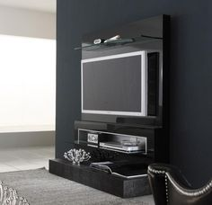 Black Wall Mounted TV Design