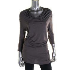 Catherine Malandrino Womens Jersey Cowl Neck Tunic Top
