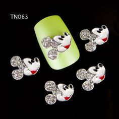 20pcs/lot New 2015 Silver Alloy Rhinestones Cartoon Mouse For Nails Alloy 3D Nail Art Decorations Glitter Nail Tools Studs TN063