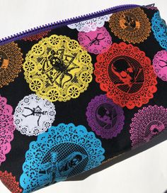 Lace Skulls and Skeletons Large Cosmetic Bag