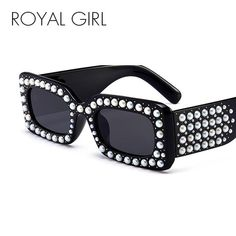 #FASHION #NEW ROYAL GIRL Retro Pearl Rivets Square Sunglasses Women Men Brand Design Black Rectangle Sun Glasses For Female Male UV400 ss968