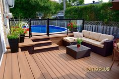 Pool deck and patio ideas images. We specialise in pool deck and patio installation. Above Ground Pool Landscaping, Backyard Pool Landscaping, Small Backyard Patio, Backyard Pergola, Deck Patio, Pergola Roof, Patio Roof, Landscaping Design, Patio Table