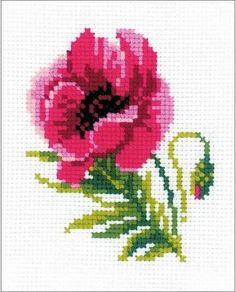 Cross stitch kit featuring a Pink Poppy flower. This cross stitch kit contains 10 count white Aida Zweigart fabric, Safil Counted Cross Stitch Kits, Cross Stitch Embroidery, Embroidery Patterns, Cross Stitch Patterns, Hand Embroidery, Cross Stitches, Pink Poppies, Cross Stitch Flowers, Modern Cross Stitch
