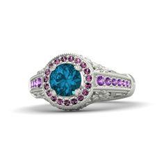 Round London Blue Topaz 14K White Gold Ring with Pink Sapphire & Amethyst - Primrose Ring   Gemvara