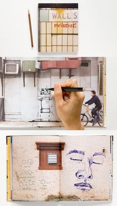 """Walls Notebook by thinkofthe.com is a sketchbook that features 80 pictures of """"clean"""" NYC walls instead of blank pages. Write, draw, paste, or doodle on these inspirational backdrops."""