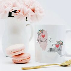 Custom two state mug, can be personalized with different states or names. Long Distance, friendship mug, two state mug. Long Distance Mugs, Long Distance Friends, Miss You Gifts, Best Friend Gifts, Custom Mugs, Hostess Gifts, Soy Candles, Color Show, Bridesmaid Gifts