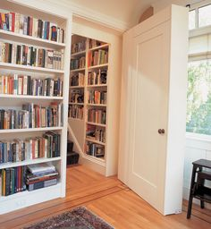 Bookcases open a secret staircase in a new addition, while decorative inlaid hardwood floors make an old home more liveable and lovelier.