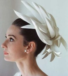 Fabulous vintage hat designed by Givenchy, worn by the eternally elegant Audrey H. Photo by Howell Conant, 1962