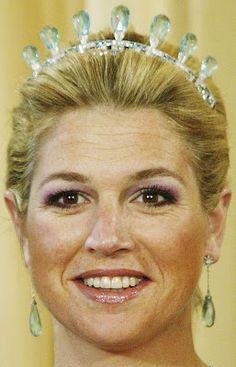 Tiara Mania: Aquamarine Parure Tiara worn by Queen Maxima of the Netherlands