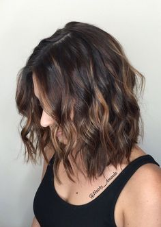 Balayage for short dark hair! Instagram: Hairby__amanda #balayage#haircolor#brunette#hairstyles#caramel#hair#shorthair#bob#haircut#textured
