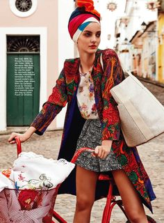 IN LIVING COLOUR: DENISA DVORAKOVA BY NICOLE BENTLEY FOR MARIE CLAIRE AUSTRALIA MARCH 2013. #scarf #fashion #trend
