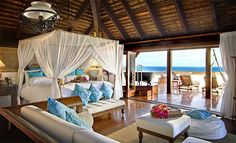 Bedroom in Richard Branson's 70 Million Dollar Caribbean Mansion on Necker Island #FantasyFriday
