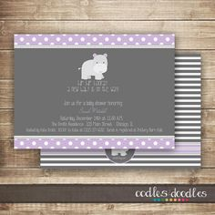 Hip, Hip Hooray! A New Baby is on the Way! This sweet Hippo Baby Shower invitation is perfect for a new baby on the way - whether boy or girl. ------- How It Works------- Printable Digital File: You will receive both pdf + jpeg files for you to print yourself from a home color printer/office supply store on heavy white card stock (use the pdf formatted with 2 invites/per page) or professionally (upload jpeg). Printed Invitations (U.S. Only): Invitations are printed on the highest quality…