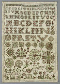 Merklap van linnen waarop met rode en groene zijde in verschillende steken alfabetten in oplopende grootte, geometrisch figuren, voorstellingen uit het dagelijks leven, GOOITIE CORNELIS/ ANNO DOGTER/ 1701/ GEIAREBFHEPW (ge-arbeid-heeft?) en twee teksten, Gooitie Cornelis, 1701