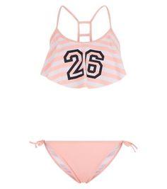 Teens Pink 26 Stripe Flounce Bikini Set