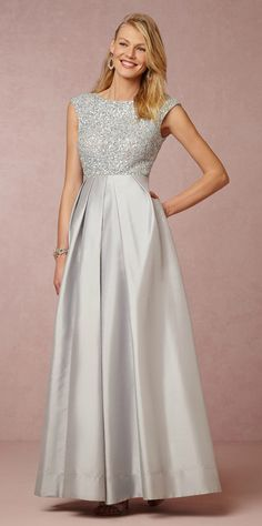 Pale blue mother of the bride gown with beaded bodice from @BHLDN