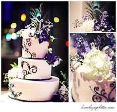 my cake...pinterest inspired :) peacock wedding cake