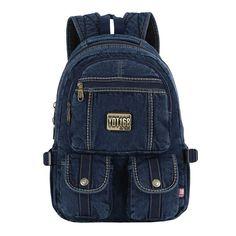 Washed Jeans Denim Backpack / Retro Canvas Sport Bag (DK-FBG06) Denim Backpack, Backpack Bags, Fashion Backpack, Pen Case, Too Cool For School, Vintage Jeans, Casual Bags, Sport Girl, School Bags