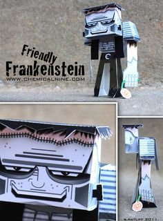 Friendly Frankenstein Paper toy with printable template