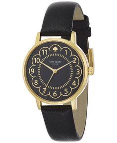 kate spade new york Women's Metro Black Leather Strap Watch 34mm 1YRU0790 - Watches - Jewelry & Watches - Macy's