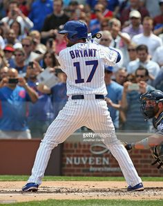 Kris Bryant of the Chicago Cubs prepares for his first Major League at-bat against the San Diego Padres at Wrigley Field on April 2015 in Chicago, Illinois. Chicago Cubs Baseball, Baseball Boys, Baseball Players, Cubs Players, Funny Baseball, Baseball Stuff, Chicago White Sox, Boston Red Sox, Cubs Win
