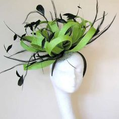Large Lime Green Fascinator Hat for Kentucky Derby & Ascot.