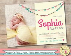 Baby Girl Pink & Purple Pastel Birth Announcement  Photo Card