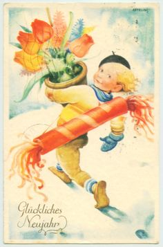 1932 New Year Art Postcard Boy Flowers Tulips by Helge Artelius | eBay