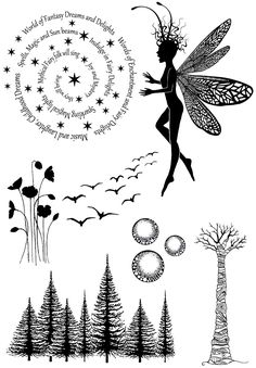 Fairy angel forest Transparent clear stamp for DIY Scrapbooking/Card Making/Kids Christmas Fun Decoration Supplies Album Photo Scrapbooking, Diy Scrapbook, Scrapbook Supplies, Stamp Making, Card Making, Faerie Tattoo, Tampons Transparents, Lavinia Stamps, Butterflies