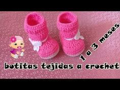 botitas a crochet para bebe - YouTube Crochet Bebe, Crochet For Kids, Knit Crochet, Baby Kit, Crochet Shoes, Long Boots, Baby Girl Shoes, Baby Booties, Free Pattern