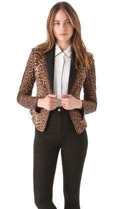 BCBGMAXAZRIA Bowie Leopard Tux Jacket