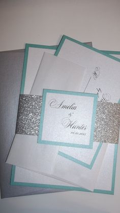 Aqua and Silver Glitter Wedding Invitation/ Silver Glitter bellyband/  Glitter Wedding Invitations with coloured envelopes