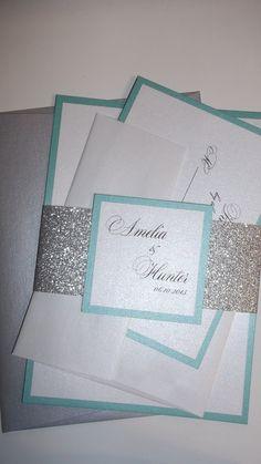 Aqua and Silver Glitter Wedding Invitation/ Silver Glitter bellyband/ Glitter Wedding Invitations with coloured envelopes