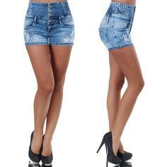 3554f01287 Világoskék köves szaggatott magas derekú farmer rövidnadrág - Női ruha  webáruház, női ruhák online - HG Fashion