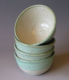 perfection - Pottery Bowl - Farmhouse - Soup Bowl - Rustic - Cereal Bowl - Salad bowl. mint and vanilla bean glaze