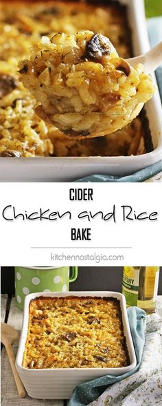 Cider Chicken and Rice Bake - taste autumn in this simple yet flavorful apple cider weeknight casserole.