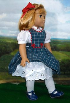 1930s 1940s Check Dress for 18 inch Girls by SugarloafDollClothes. $55.00