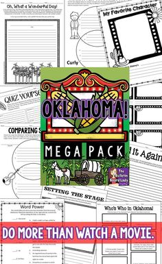 Oklahoma! Use this mega pack of worksheets, activities and more to introduce your students to this classic movie musical.  The amazing dance numbers and memorable songs will keep your students engaged and this no prep pack is so easy you can leave it for a sub.  Win!