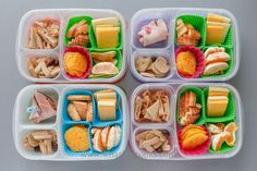 Cheese, oranges, cheese crisps, homemade cookies, chocolate covered edamame beans, two have ham and two have a little bit of leftover pizza. Packed in Easy Lunchboxes with Square Silicone Baking Cups .