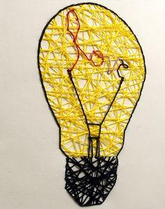Sew your love #canvas#sew#love#yellow#black#bulb#art#lampadina#cucire#tela#telacucita#amore#giallo#nero#arte