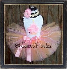 SWEET PEACH TEA - Birthday Tutu Skirt Set, Hairclip/Headband & 3D Cupcake Shirt - Newborn, 1st, 2nd, 3rd, 4th, 5th Birthday on Etsy, $49.95