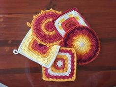 Set of 5 Red and Yellow Hot Pads by Twigglings on Etsy