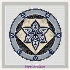 Mandala Spotlight grijs - download kruissteek borduurpatroon pdf - 197 x 197 kruisssteken -36 x 36 cm