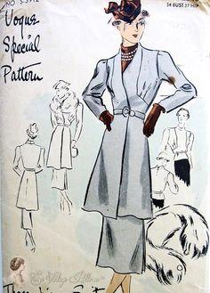 1930s Fantastic 3 Pc Suit Pattern Deco Tunic Jacket, Slim Skirt , Beautiful Blouse Vogue Special Design 3912