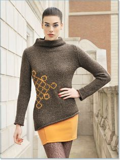 """enlarge line   Blue Sky Alpacas Patterns   Graphic Pullover     An asymmetrical scroll graphic lends a groovy vibe to this easy to wear roll-collar pullover.     sizes: XS (S, M, L, XL, 2XL)      gauge: In St st, 14 sts and 20 rows = 4""""  Needle size required may vary depending on color of Techno chosen, please check your gauge.     materials:  • Blue Sky Techno (50 g/120 yds): 6 (7, 8, 8, 9, 10) hanks MC, 1 hank CC"""
