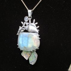 Sterling Silver  CrabCoral and Shell Pendant with by CreativeEddy, $368.00