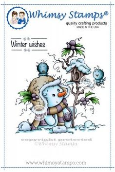 """Whimsy Stamps/Wee Stamps """"""""Miss Frosty"""""""" Rubber Stamp"""